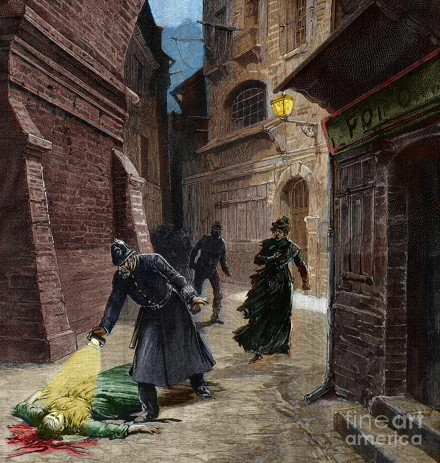 Whitechapel Drawing - Discovery Of A Victim Of Jack The Ripper, Whitechapel, London by Fortune Louis Meaulle