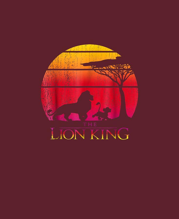 Disney Lion King Vintage Sunset Logo Graphic T Shirt