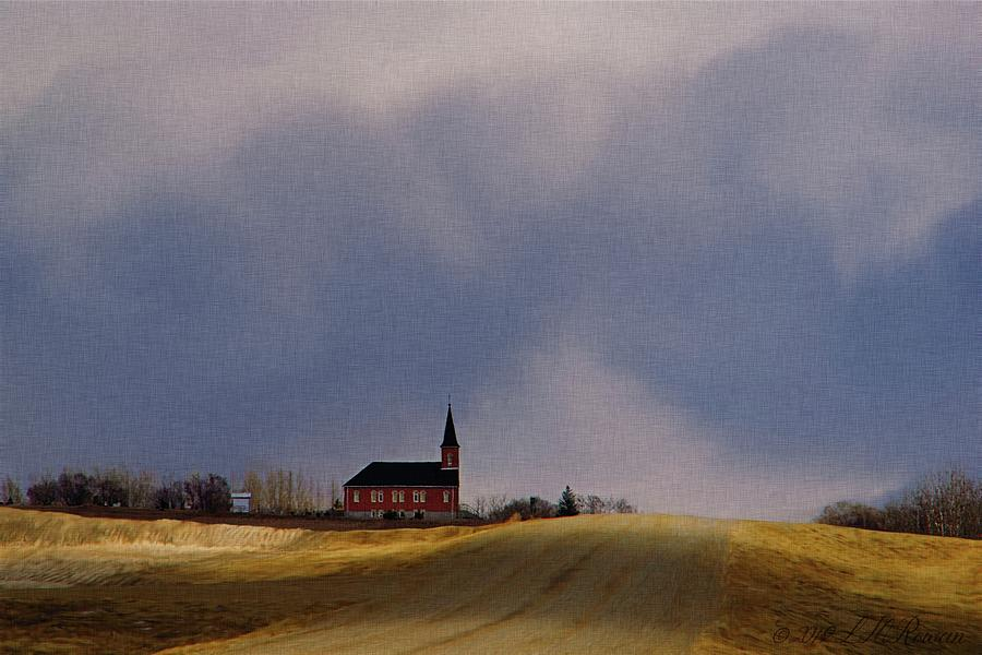Church Digital Art - Distant Red Church On A Stormy Day by Images Undefined