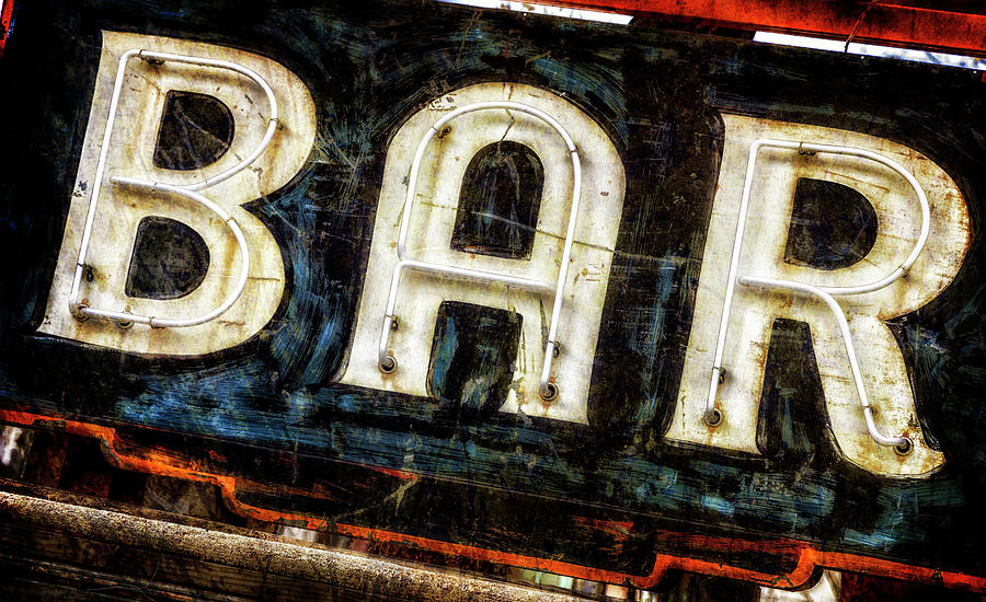 Distressed Aged Neon Bar Sign by Teri Virbickis