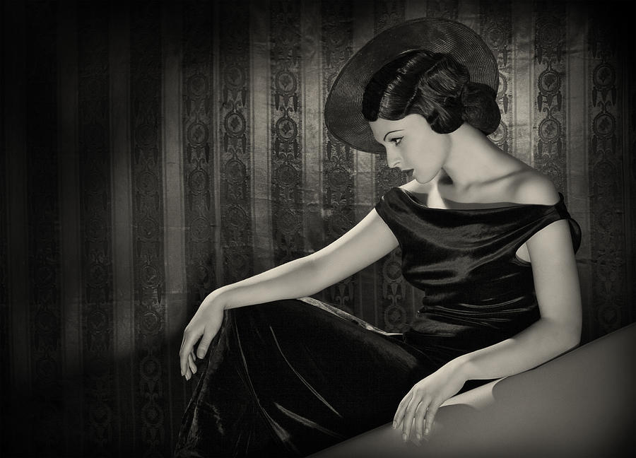 Diva With The Hat In Film Noir Style Photograph by Retroatelier
