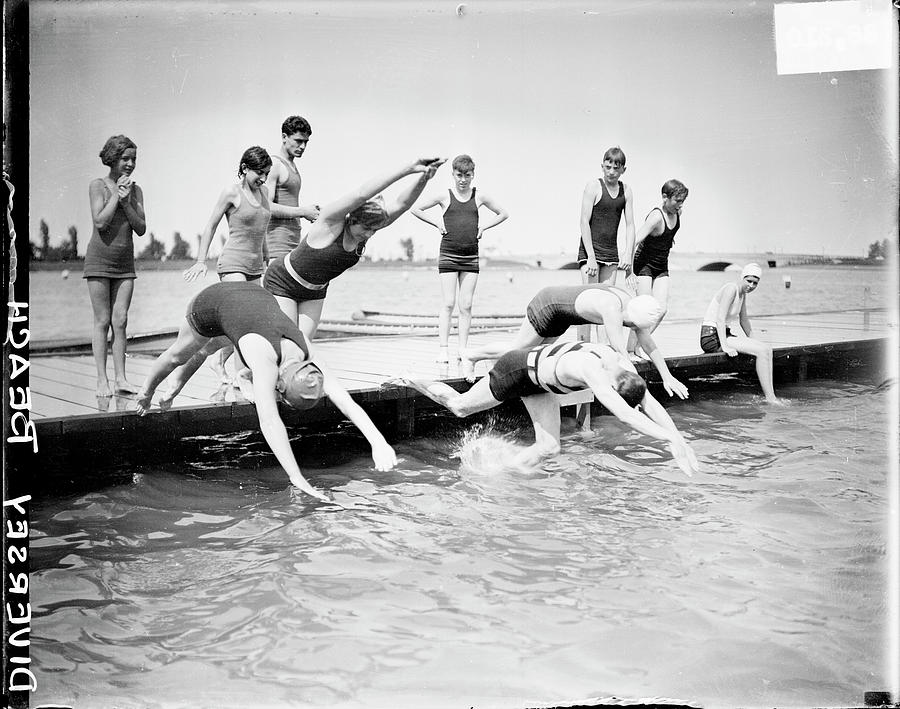 Diving Into Lake Michigan Photograph by Chicago History Museum