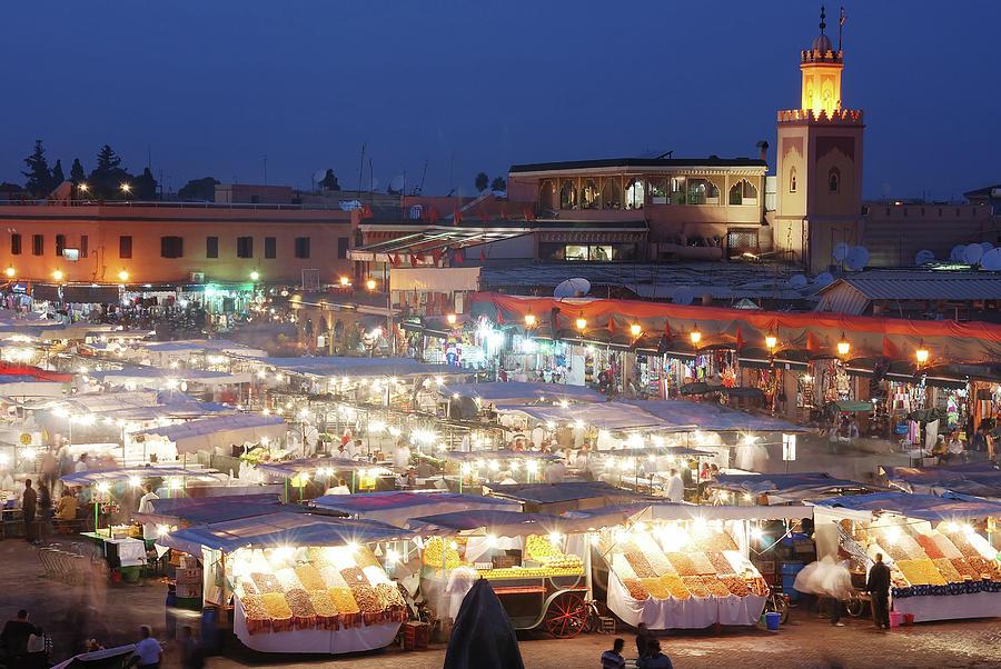 Djemma El Fna Market Square At Night Photograph by Gethinlane