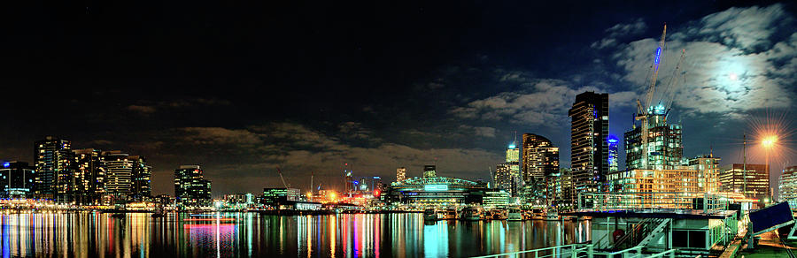 Docklands Moonlight Panorama Photograph by Kai Oyang
