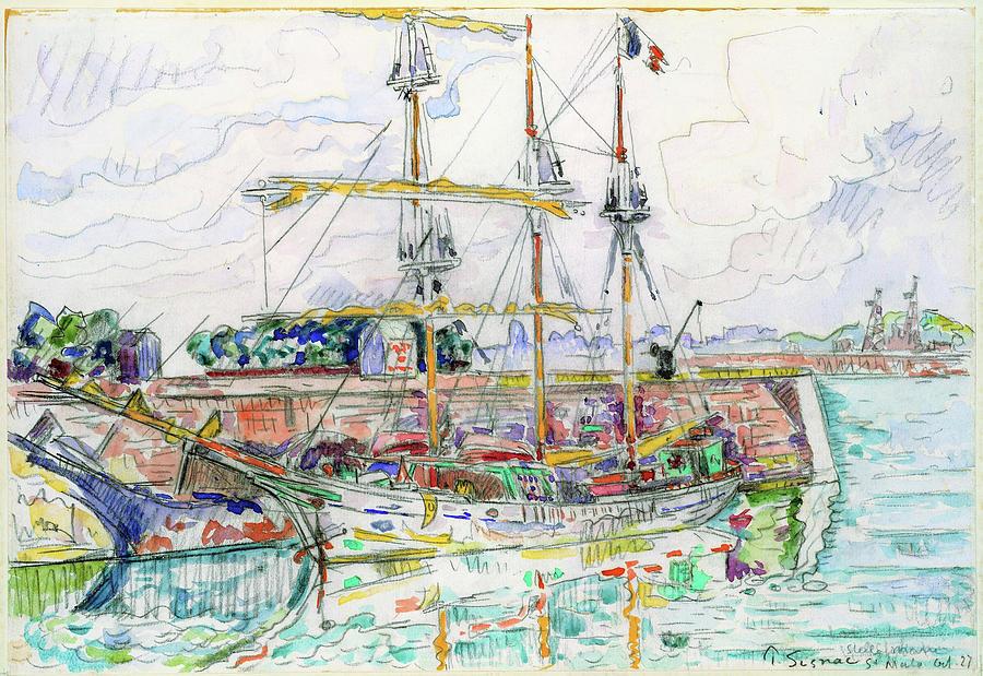Paul Signac Painting - Docks At Saint Malo - Digital Remastered Edition by Paul Signac