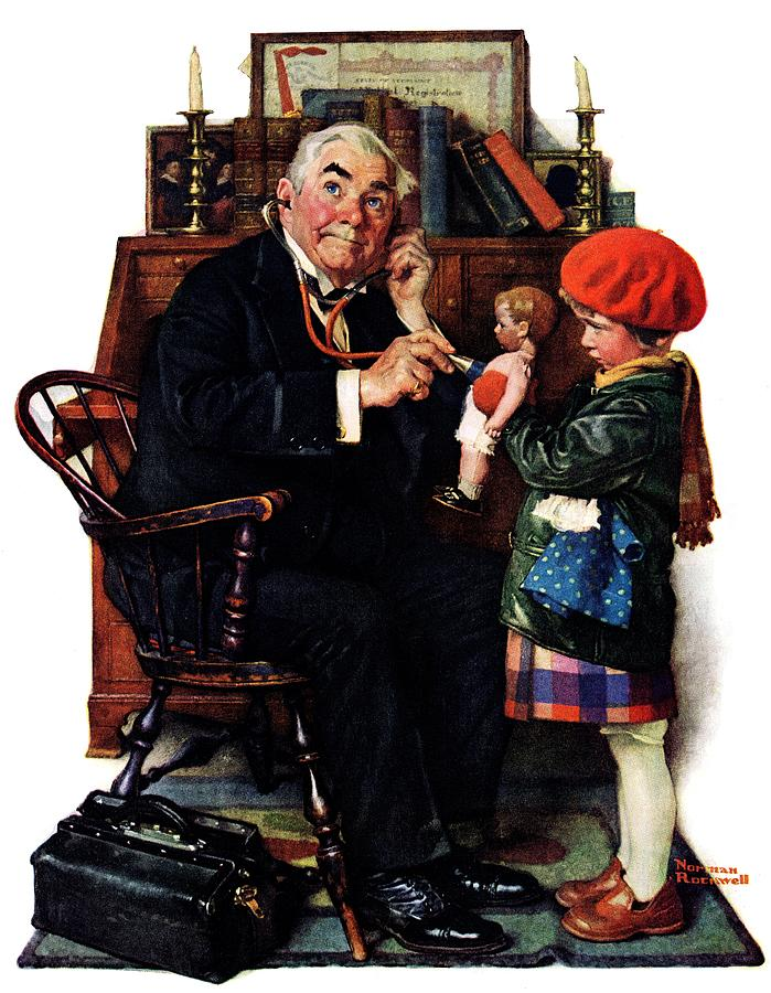 Doctors Drawing - Doctor And The Doll by Norman Rockwell