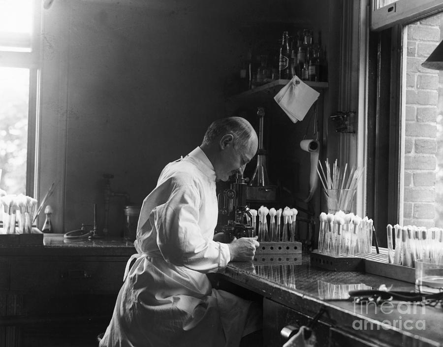 Doctor Looking Through Microscope Photograph by Bettmann