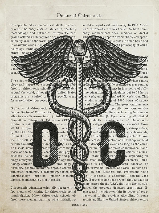Chiropractic Digital Art - Doctor Of Chiropractic Gift Idea With Caduceus Illustration 01 by Aged Pixel