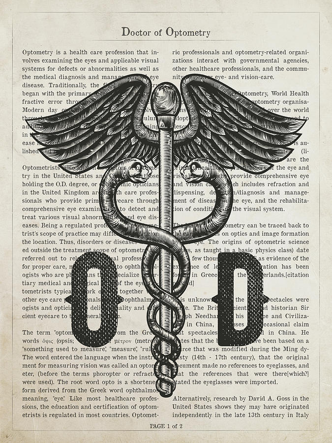 Eye Care Digital Art - Doctor Of Optometry Gift Idea With Caduceus Illustration 01 by Aged Pixel