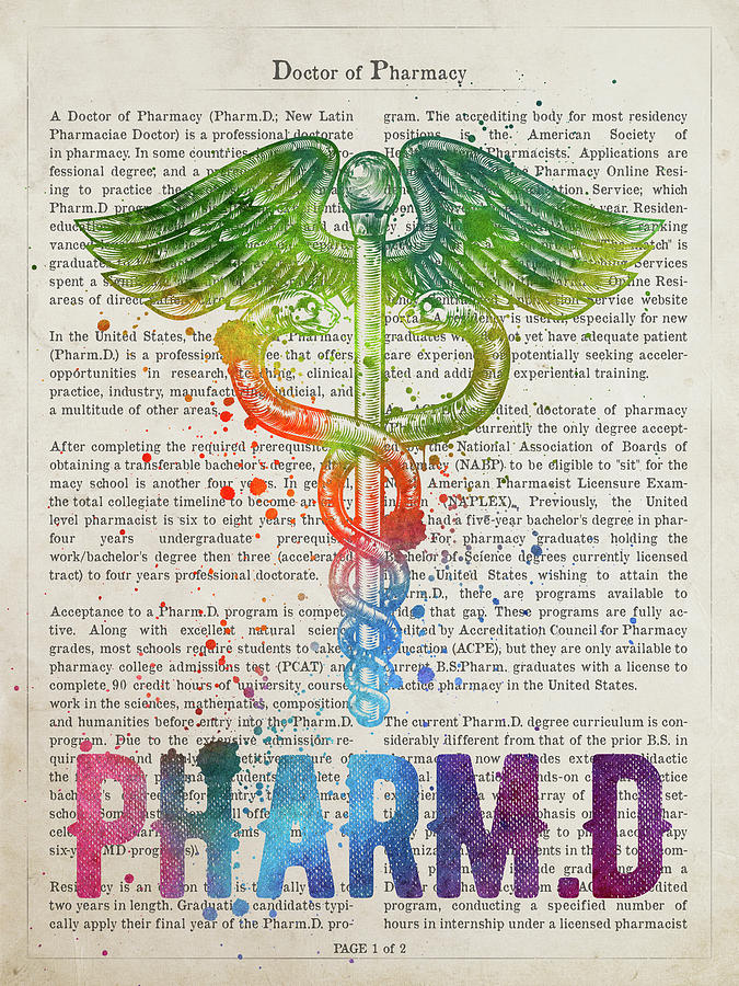 Doctor Of Pharmacy Digital Art - Doctor Of Pharmacy Gift Idea With Caduceus Illustration 03 by Aged Pixel