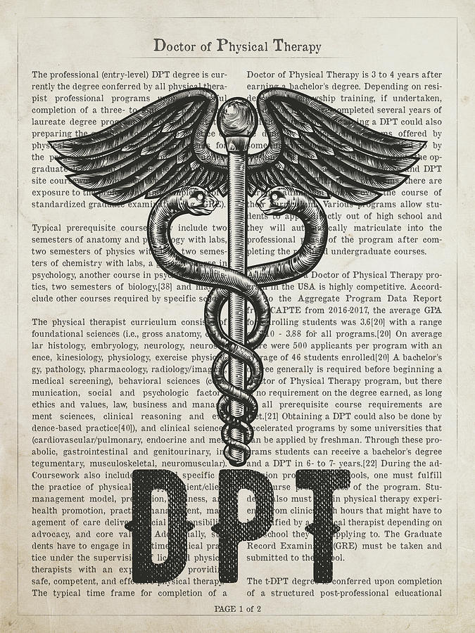 Dpt Digital Art - Doctor Of Physical Therapy Gift Idea With Caduceus Illustration  by Aged Pixel
