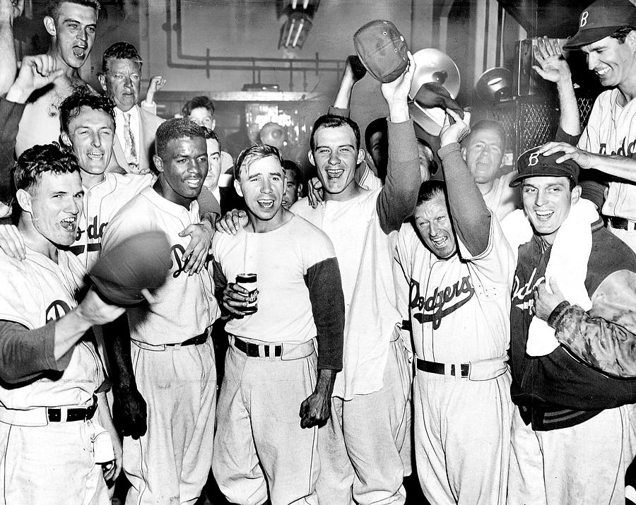 Dodgers Celebrate In The Clubhouse Photograph by New York Daily News Archive