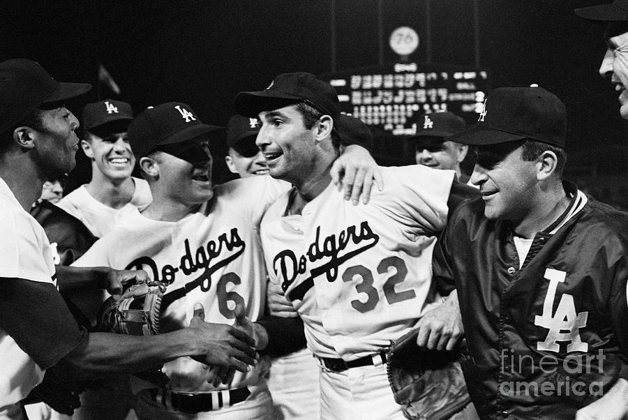 Dodgers Congratulating Sandy Koufax Photograph by Bettmann