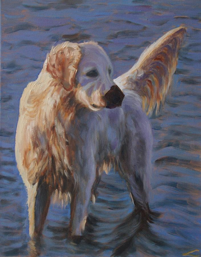 Dog Painting - Dog at the sea by Elena Sokolova