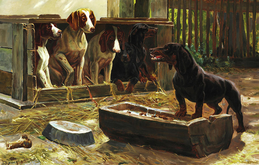Painting Painting - Dog Farm Dogs Consider A Cemetery Dog by Simon Simonsen
