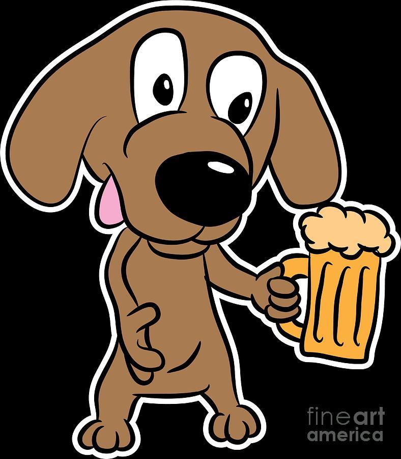 Dog Lover Beer Comic Animal Birthday Gift Idea Digital Art