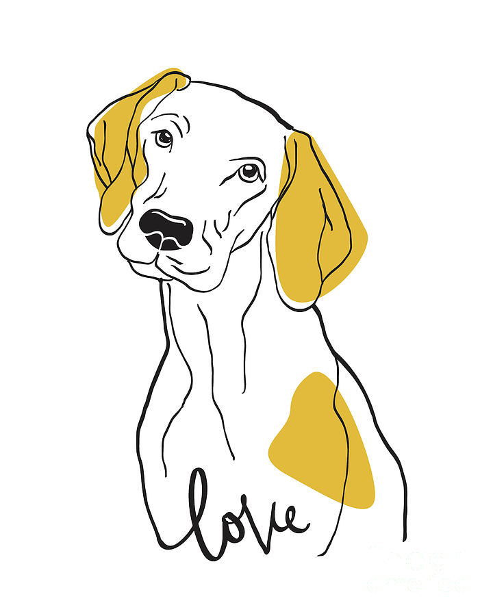 Dog Modern Line Art Drawing By Donika Nikova