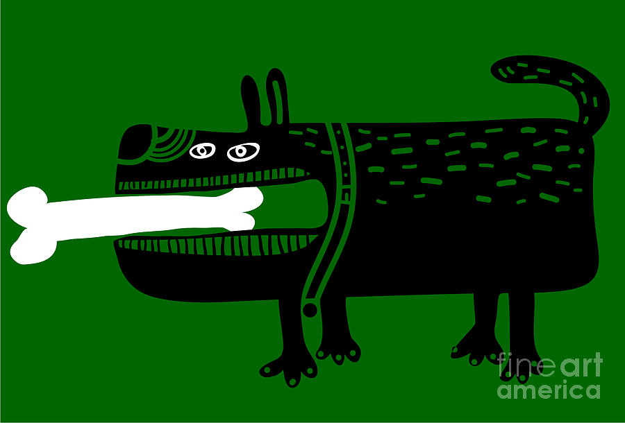 Entertainment Digital Art - Dog With A Big Bone In His Mouth by Complot