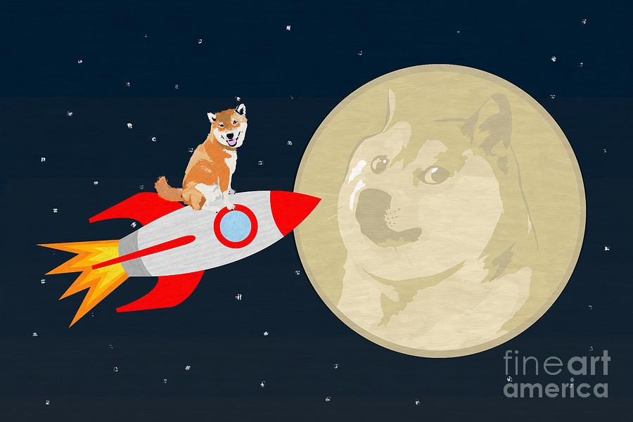Dogecoin 2 The Moon Mixed Media by D Tao