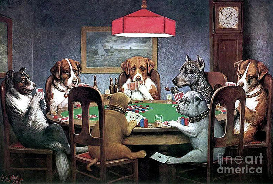 Cassius Marcellus Coolidge Mixed Media - Dogs Playing Poker by Cassius Marcellus