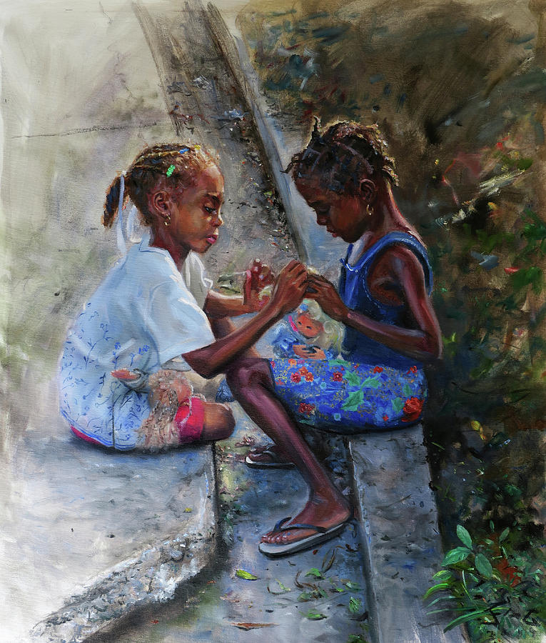Dolls Painting - Dolls by Jonathan Guy-Gladding JAG