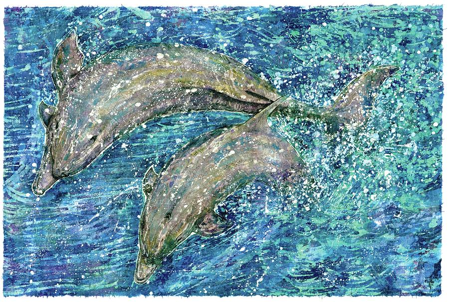 Dolphin Love Painting by Nick Cantrell