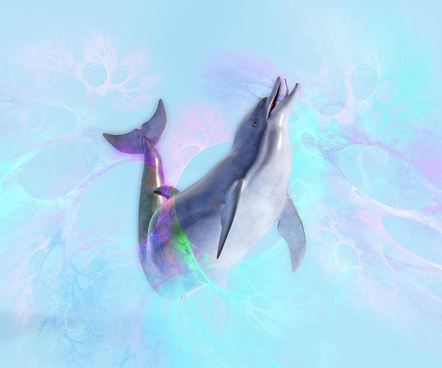 Dolphin Digital Art - Dolphin New Worlds by Betsy Knapp