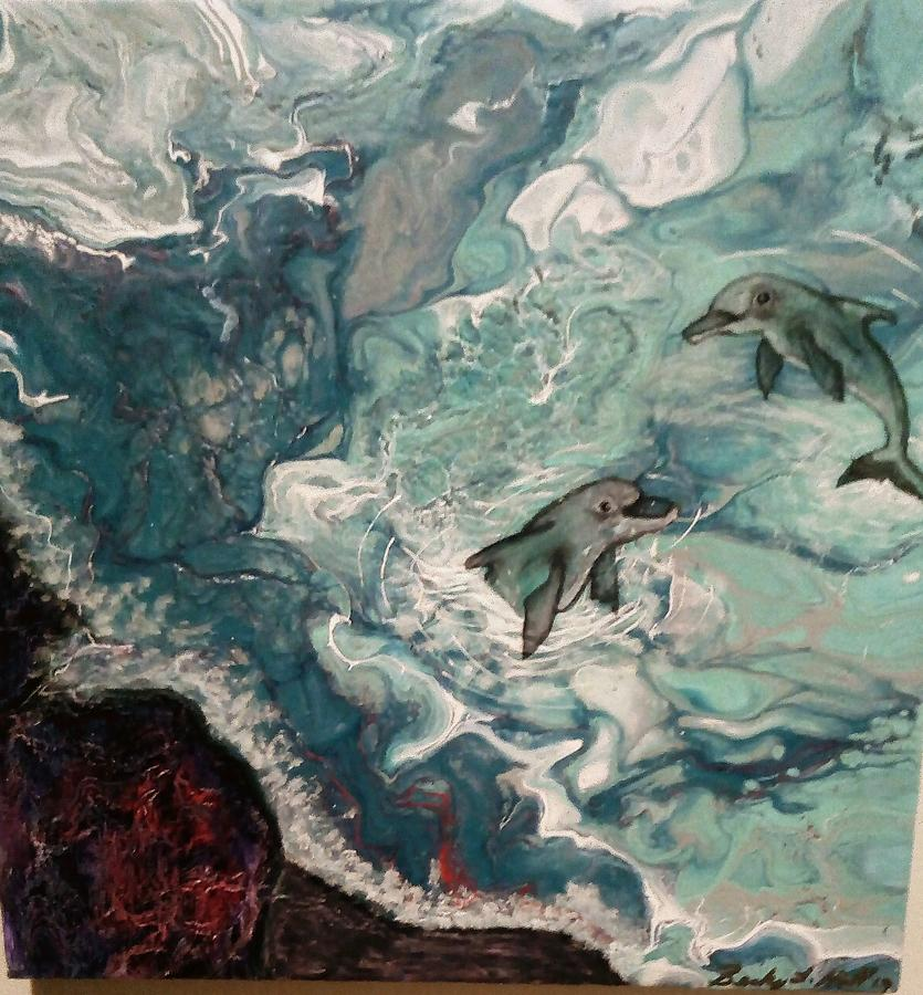 Dolphins Painting - Dolphins At Play by Becky Hall