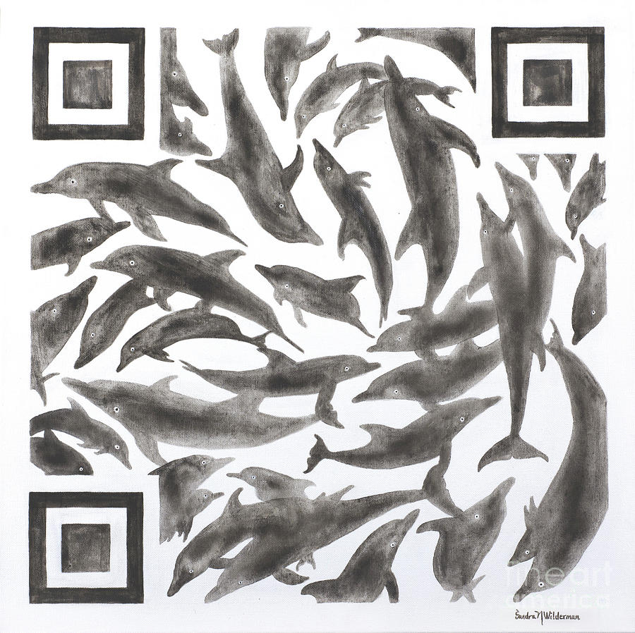 Dolphins Quick Response Code by Sandra Neumann Wilderman