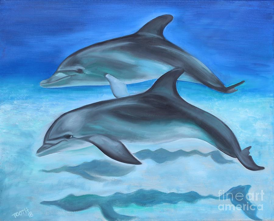 Dolphins Painting By Wendi Tooth