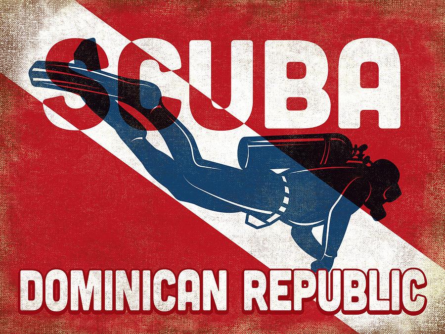 Dominican Republic Digital Art - Dominican Republic Scuba Diver - Blue Retro by Flo Karp