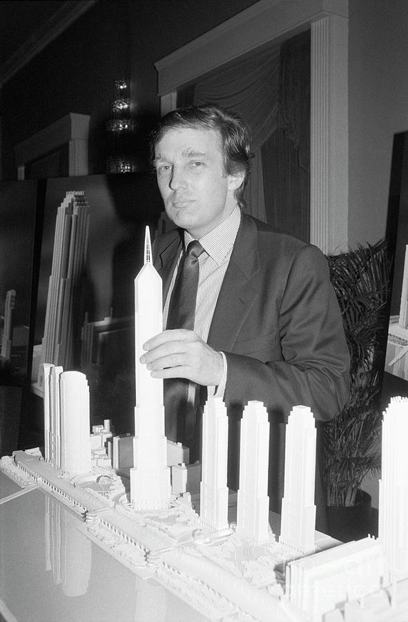 Donald Trump With Model Of Television Photograph by Bettmann
