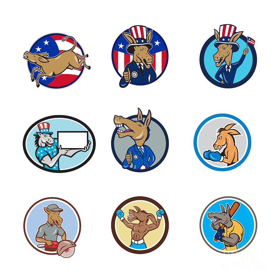 Set Digital Art - Donkey Mascot Cartoon Circle Set by Aloysius Patrimonio