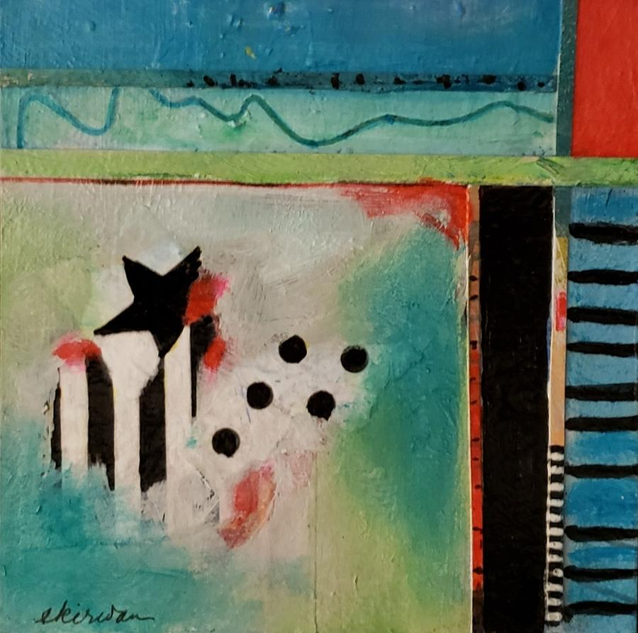 Abstract Mixed Media - Dont and Stripes by Ellen Kirwan