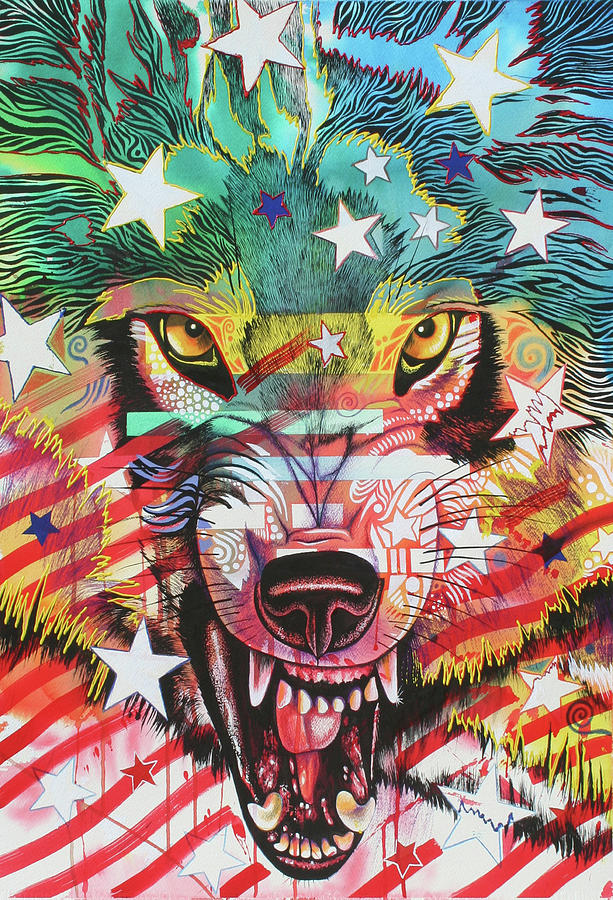 Wolf Painting - Dont Mess With Me 1 by Graeme Stevenson