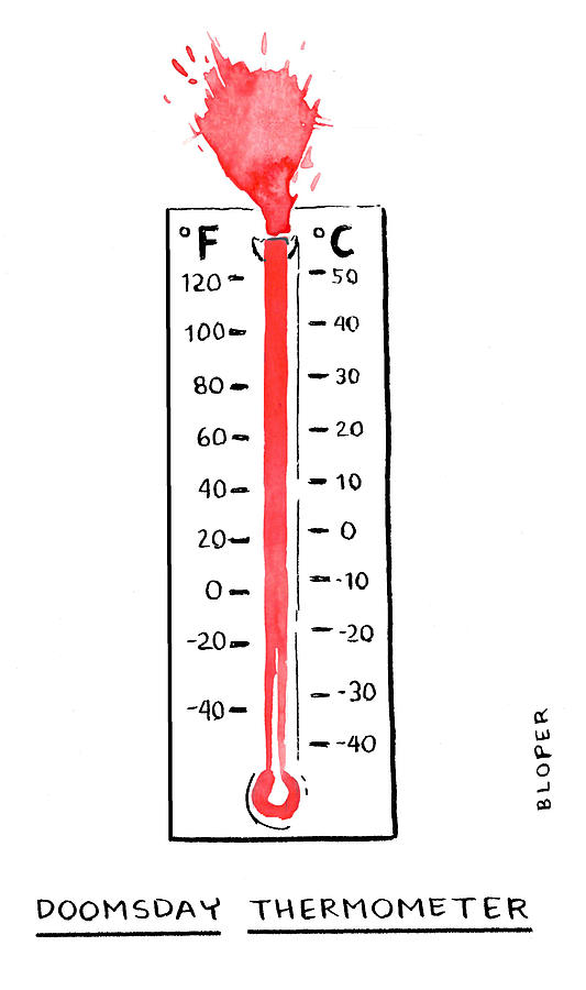 Doomsday Thermometer Drawing by Brendan Loper