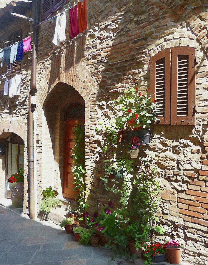 Italy Photograph - Doors And Windows Of San Gimignano Italy  by Irina Sztukowski