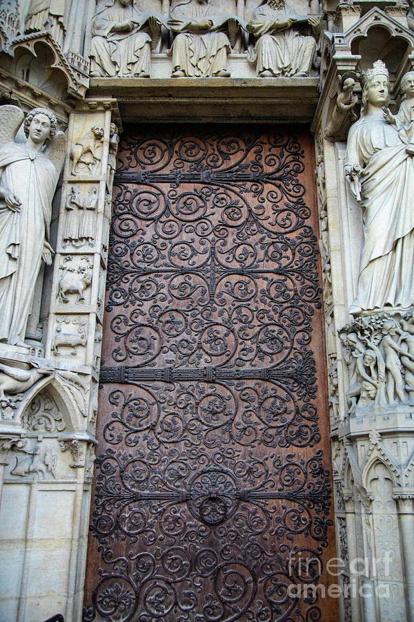Doors Cathedrale Notre Dame De Paris France Before Fire by Wayne Moran