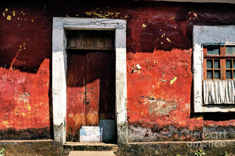 Doors of India - Red Door Red Wall by Miles Whittingham