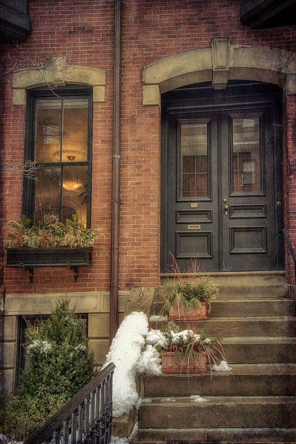 Doorways in Winter - Beacon Hill by Joann Vitali
