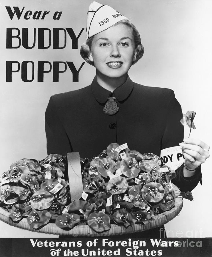 Doris Day Holding Buddy Poppies Photograph by Bettmann