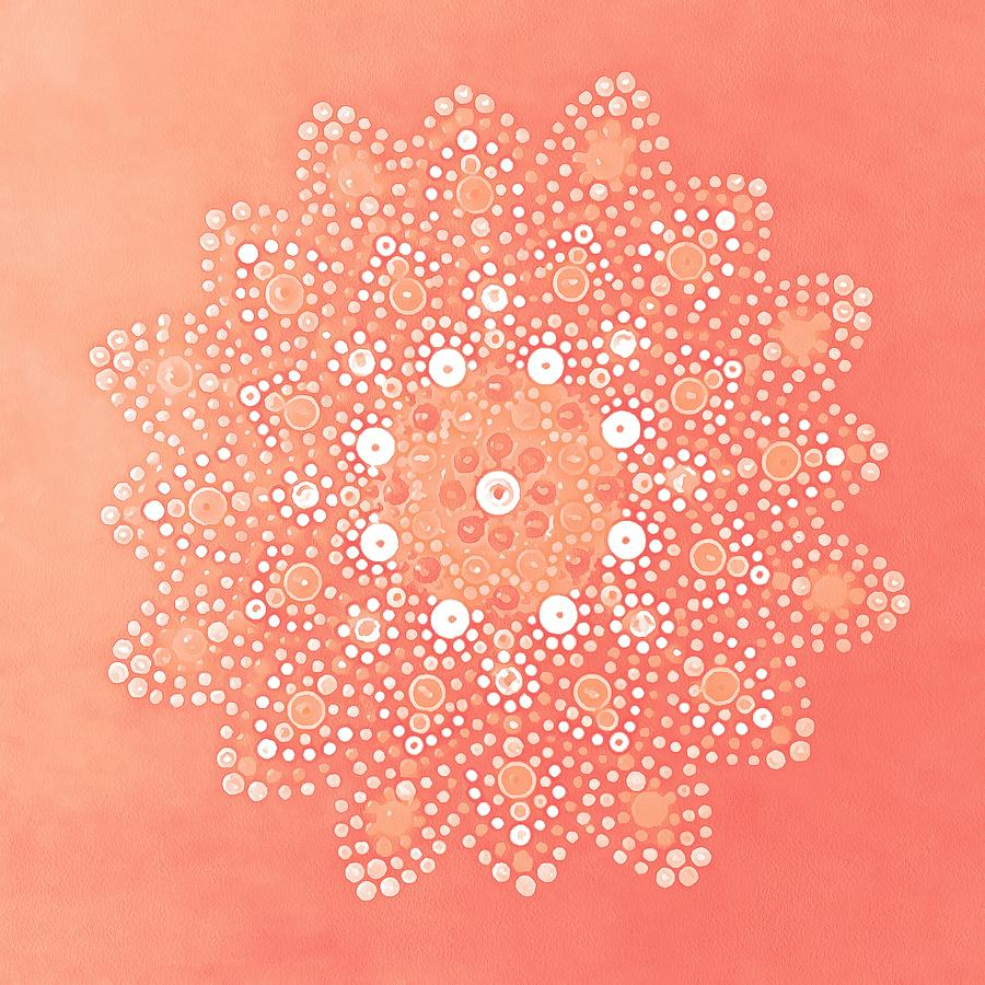 Dot Mandala Floral in Living Coral and White by Taiche Acrylic Art