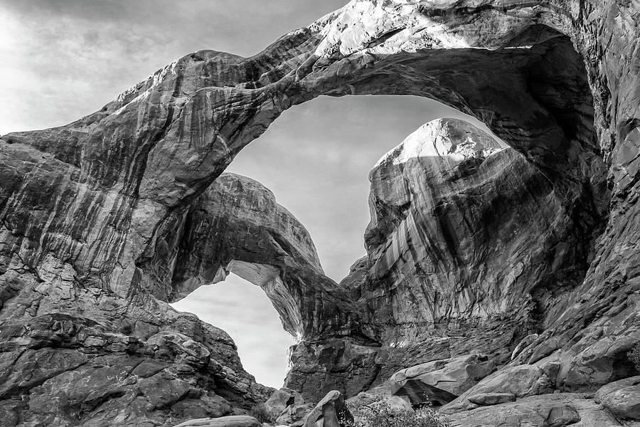 Double Arch In Arches National Park Black And White Print