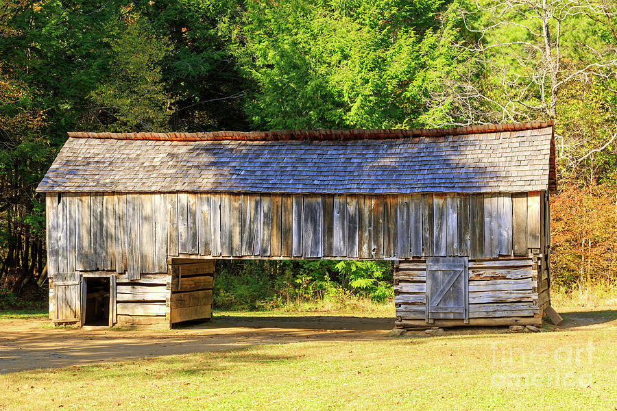 Barn Photograph - Double Crib Barn In Cades Cove In Smoky Mountains National Park by Louise Heusinkveld