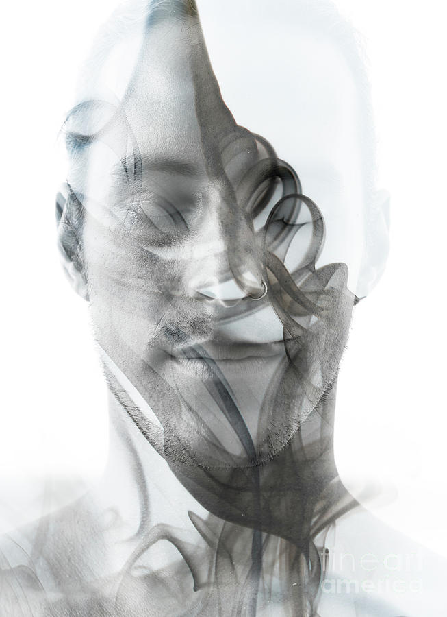 Double Exposure Portrait Of A Sexy Man Photograph by Victor tongdee