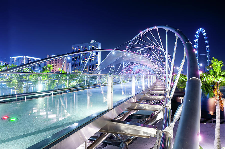 Double Helix Bridge And Flyer, Singapore Photograph by Tomml