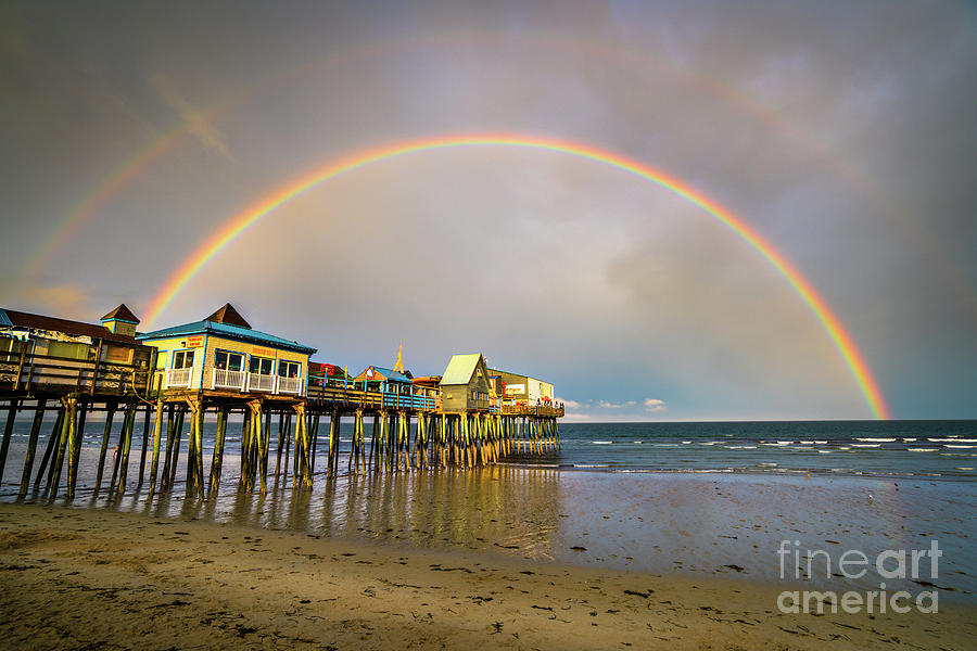 Coast Photograph - Double Rainbow at Old Orchard Beach by Benjamin Williamson