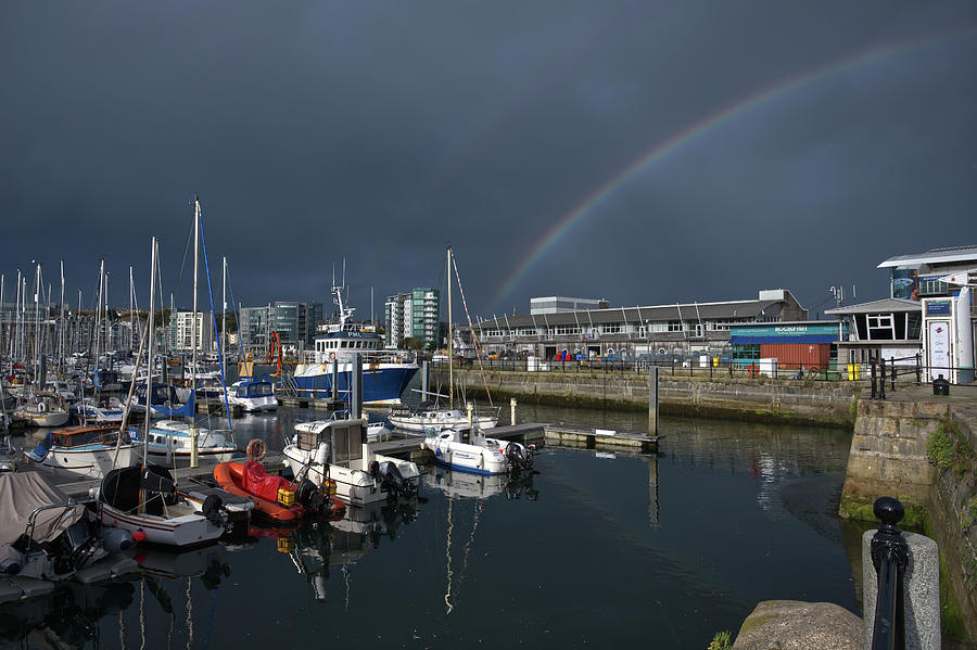 Double Rainbow Over Sutton Harbour by CHRIS DAY