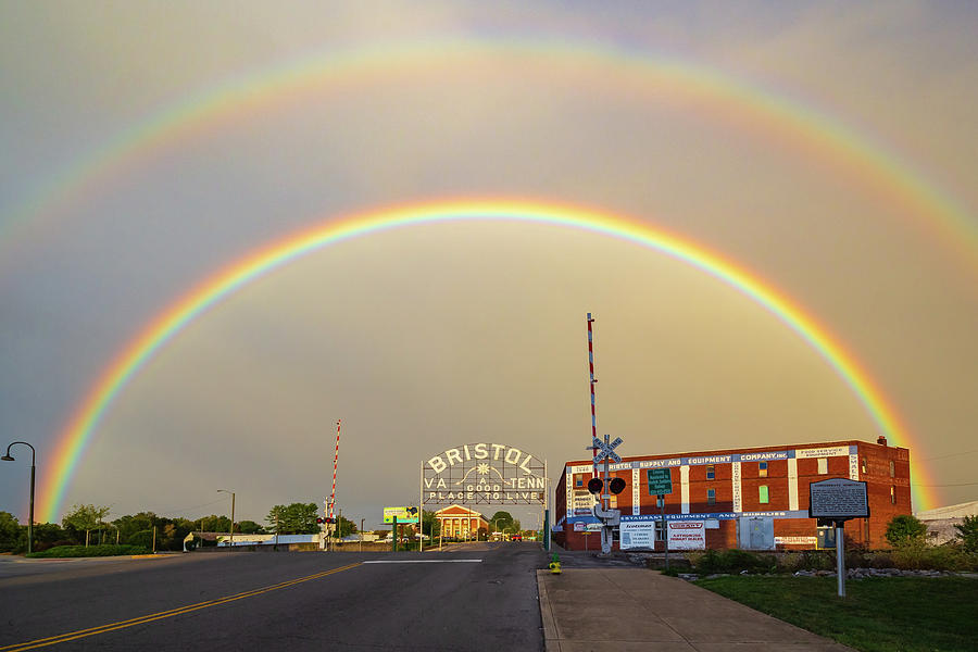 Double Rainbow Over The Bristol Sign Photograph