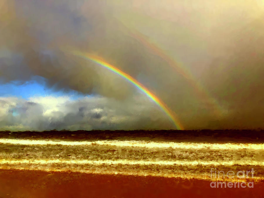 Double Rainbow Over The Sea by Russell Kightley